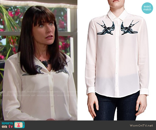 The Kooples Swallow Print Silk Shirt worn by Rena Sofer on The Bold & the Beautiful