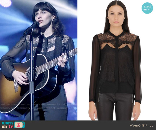 The Kooples Lace and Chiffon Shirt worn by Aubrey Peeples on Nashville