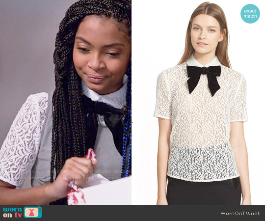 The Kooples Velvet Bow Lace Top worn by Yara Shahidi on Blackish