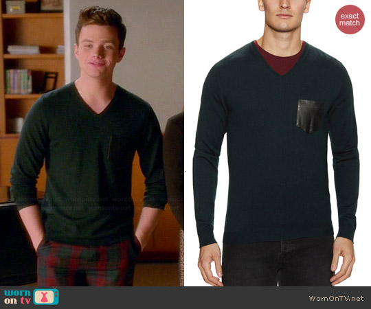 The Kooples V-neck Sweater with Leather Pocket worn by Chris Colfer on Glee