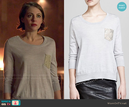 The Kooples Wool & Leather Pocket Sweater worn by Willa Holland on Arrow