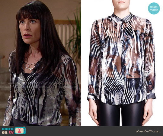 The Kooples Zebra Burnout Print Shirt worn by Rena Sofer on The Bold & the Beautiful