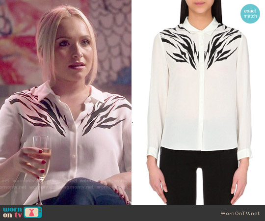 The Kooples Zebra-Print Silk Boyfriend Shirt worn by Hayden Panettiere on Nashville