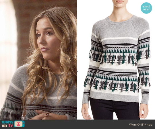 The Lane Fair Isle Fringed Crewneck Sweater worn by Lennon Stella on Nashville
