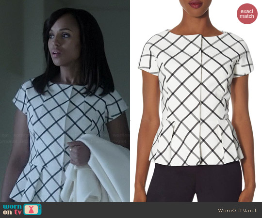The Limited Check Peplum Jacket worn by Kerry Washington on Scandal