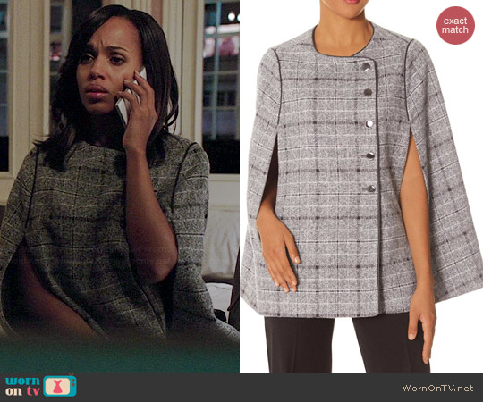 The Limited Plaid Cape worn by Kerry Washington on Scandal