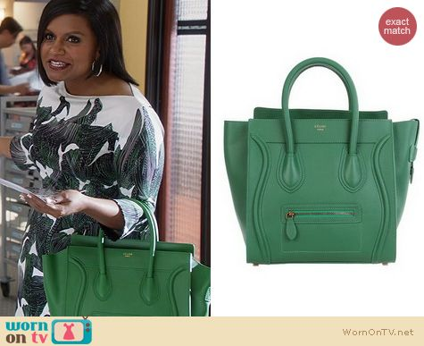 The Mindy Project Bags: Celine Pristine tote in green worn by Mindy Kaling