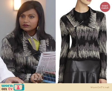 The Mindy Project Fashion: BCBGMAXAZRIA Eva Electric Strokes Jacket worn by Mindy Kaling