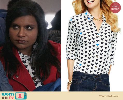 The Mindy Project Style: C Wonder Silk Heart Print Blouse worn by Mindy Kaling
