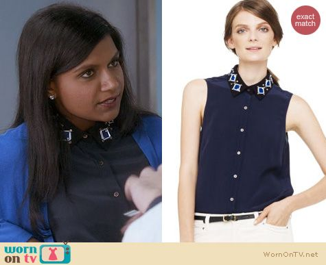 Fashion of The Mindy Project: Club Monaco Clara Embellished Collar Top worn by Mindy Kaling