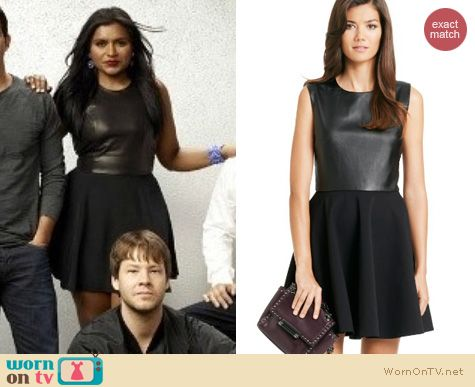 The Mindy Project Fashion: Diane von Furstenberg Jeannie Two Leather Fit and Flare dress worn by Mindy Kaling