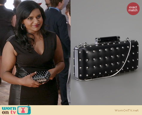 The Mindy Project Style: Diane von Furstenberg Tonda Studded Clutch worn by Mindy Kaling