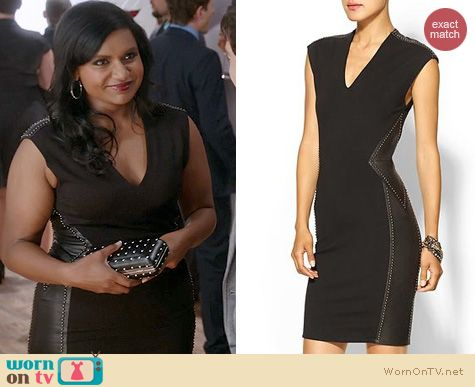 The Mindy Project Fashion: Haute Hippie Leather and Ponte Studded Dress worn by Mindy Kaling