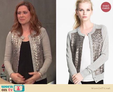 The Office Fashion: Diane von Furstenberg Paryse Bis sequin cardigan worn by Jenna Fischer