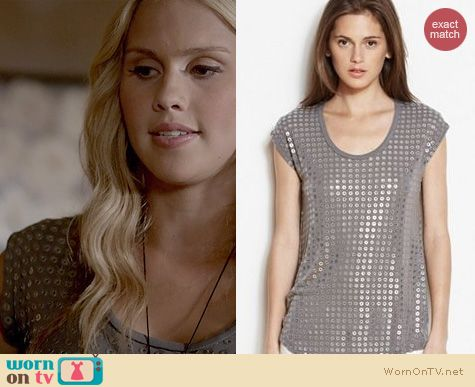 Fashion of The Originals: Armani Exchange Slouchy Grommet Tee worn by Claire Holt