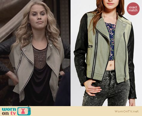 The Originals Fashion: Members Only Fabric Mixed Moto Jacket worn by Claire Holt