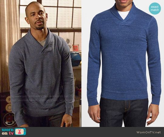 The Rail Trim Fit Mélange Shawl Collar Sweater worn by Damon Wayans Jr on New Girl