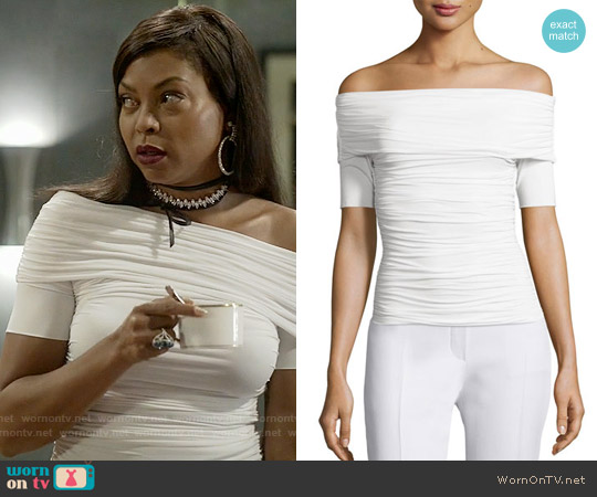 The Row Nanja Off-the-Shoulder Jersey Top worn by Taraji P. Henson on Empire