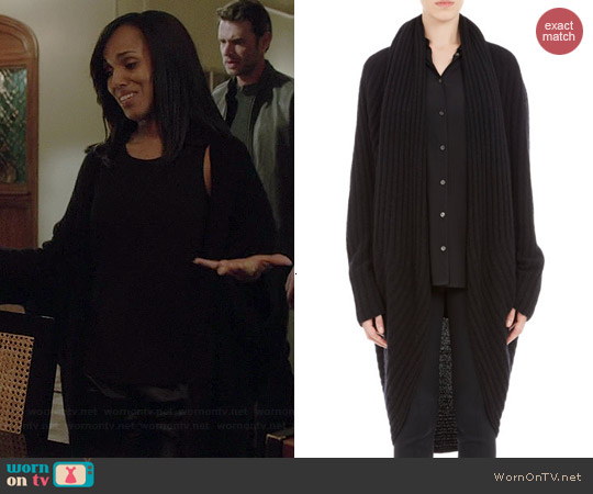 The Row Ilia Ribbed Cocoon Cardigan in Black worn by Kerry Washington on Scandal