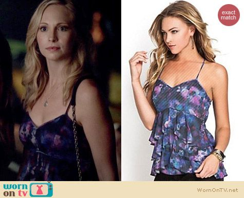 The Vampire Diaries Fashion: Guess Bombay Floral Ruffle Top worn by Candice Accola