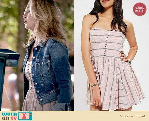 The Vampire Diaries Fashion: Lucca Couture Linen Striped Dress worn by Candice Accola
