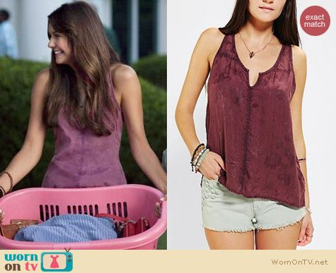 The Vampire Diaries Fashion: Urban Outfitters Ecote Silky Jacquard Tank Top worn by Nina Dobrev
