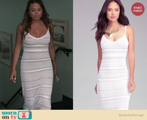 The Vineyard Fashion: Bebe Mixed Stitch Halter dress worn by Sophi Alvarez