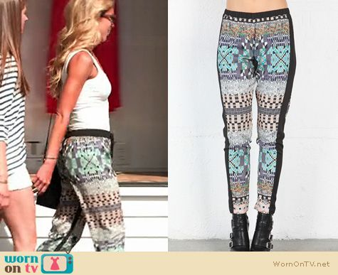 The Vineyard Fashion: Clover Canyon Jeweled Tapestry Pants worn by Katie Tardif