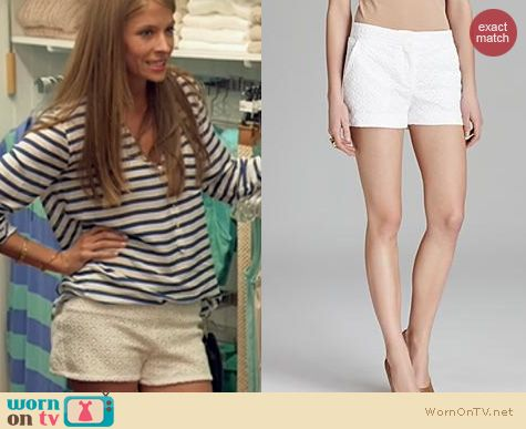 The Vineyard Fashion: Diane von Furstenberg Fabiola Eyelet shorts worn by Gabby LaPointe