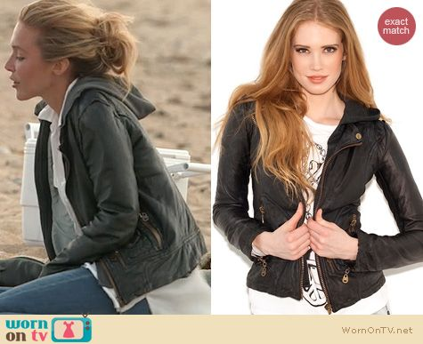 The Vineyard Fashion: Doma Leather hooded moto jacket worn by Katie Tardif