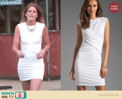 The Vineyard Fashion: T by Alexander Wang White Pique Mesh Sleeveless Dress worn by Cat Todd