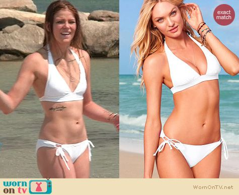 The Vineyard Swimwear: Victoria's Secret Pushup Bikini in white worn by Cat Todd