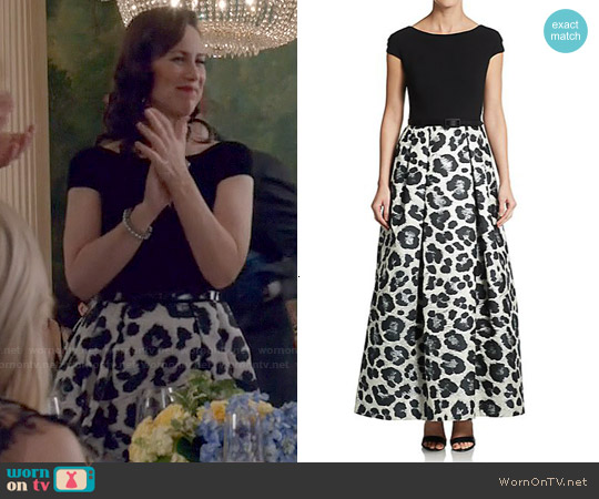 Theia Snow Leopard Print Ball Gown worn by Miriam Shor on Younger