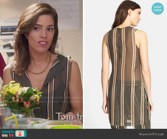 Theory 'Pinga' Stripe Silk Top worn by Ana Ortiz on Devious Maids