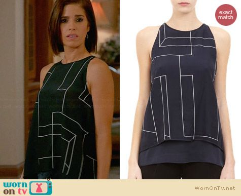 Theory Lyalka Line Print Tank worn by Ana Ortiz on Devious Maids