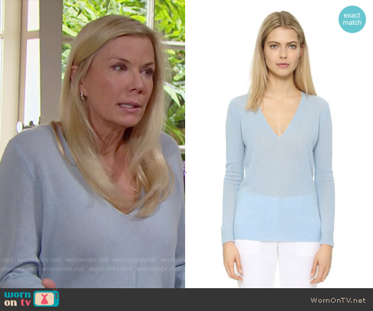 Theory Adrianna Cashmere Sweater worn by Katherine Kelly Lang on The Bold & the Beautiful