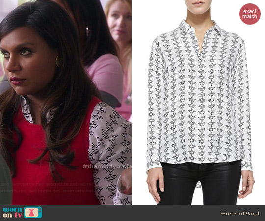 Theory Aquilina Silk Blouse worn by Mindy Kaling on The Mindy Project