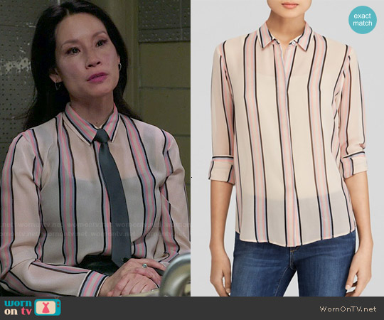 Theory Aquilina Shirt in Pink Multi worn by Lucy Liu on Elementary
