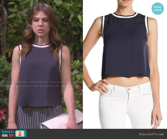 Theory Bonda Modern Silk Georgette Top worn by Marci Miller on Days of our Lives