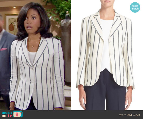Theory Brightdale Stripe Linen Blazer worn by Karla Mosley on The Bold & the Beautiful