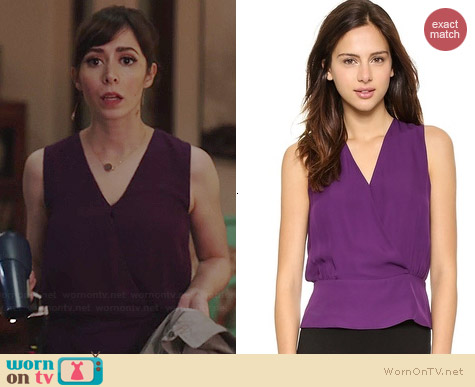 Theory Camara Double Blouse worn by Cristin Milioti on A to Z