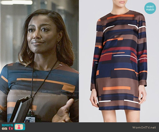 Theory 'Cepeda' Silk Abstract Stripe Dress worn by Patina Miller on Madam Secretary