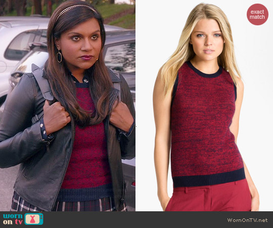 Theory Chaz B Marled Sweater Vest worn by Mindy Kaling on The Mindy Project
