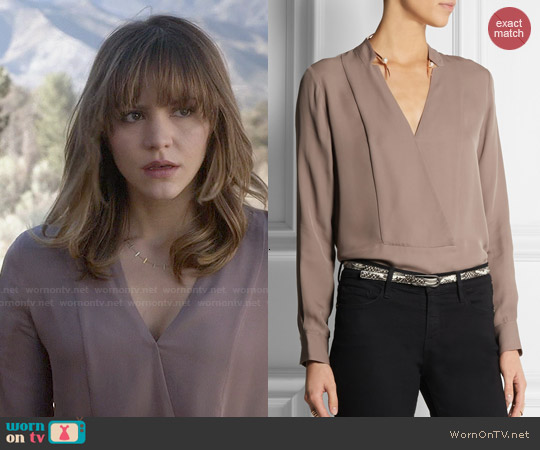 Theory Corbette Blouse in Cedar worn by Katharine McPhee on Scorpion