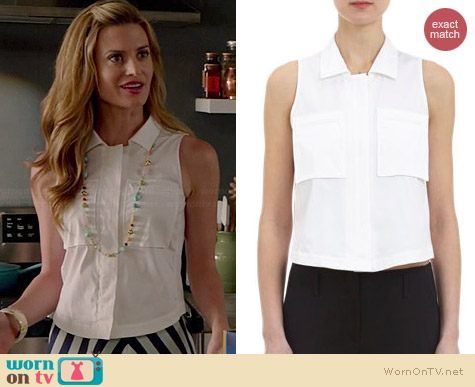 Theory Crop Sleeveless Shirt worn by Brooke D'Orsay on Royal Pains