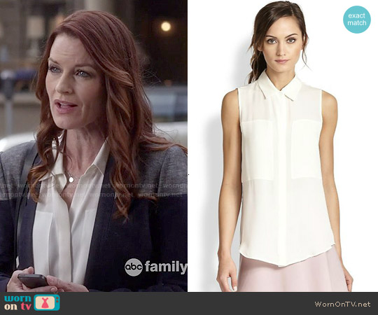 Theory Duria Blouse worn by Laura Leighton on PLL
