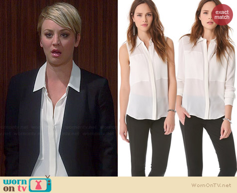 Theory Duria/Durlia Blouse worn by Kaley Cuoco on The Big Bang Theory