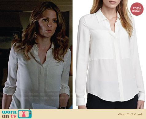 Theory Durlia Blouse worn by Stana Katic on Castle
