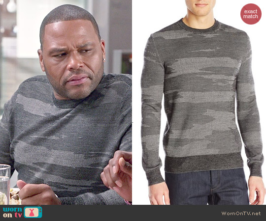 Theory Asli Geyser Camouflage Sweater worn by Anthony Anderson on Blackish
