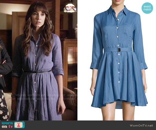 Theory Jalyis Sunny Belted Shirtdress worn by Troian Bellisario on PLL